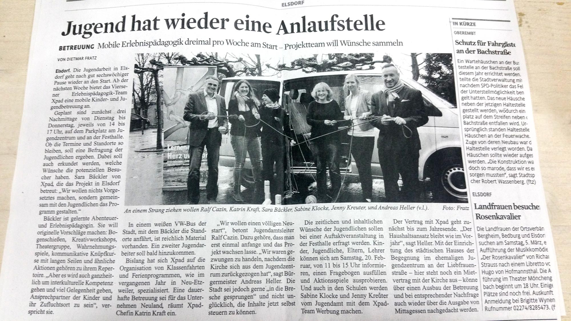 """Am 11. Februar 2016 erschien zum Startschuss der Artikel """"Jugend hat wieder eine Anlaufstelle"""" im Stadtanzeiger Köln."""